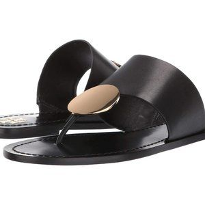 $248 Tory Burch Patos Disc Flat Leather Sandals